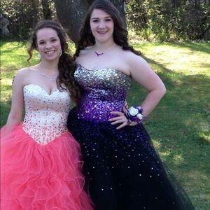 MORI LEE Purple/Black Ombré Prom Dress